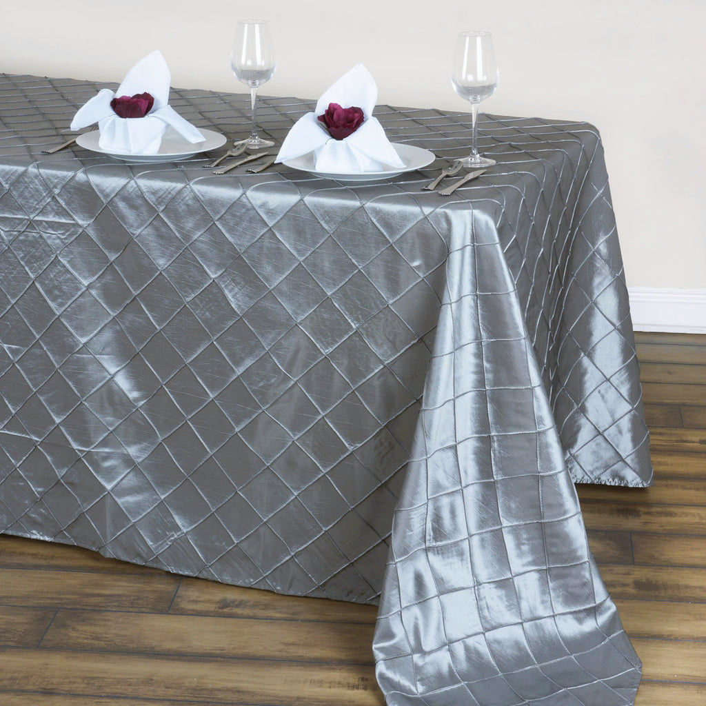 "Silver 90x132"" Pintuck Tablecloths"