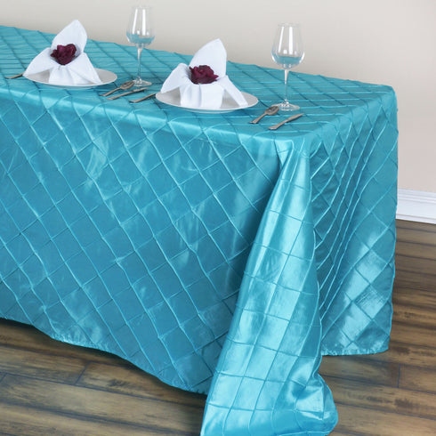 "90"" x 132"" Turquoise Taffeta Pintuck Tablecloths For Catering Wedding Party Decorations"