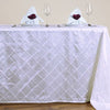"90"" x 132"" White Taffeta Pintuck Rectangular Tablecloth"