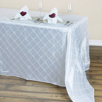 "90"" x 132"" Taffeta Pintuck Tablecloth - White"