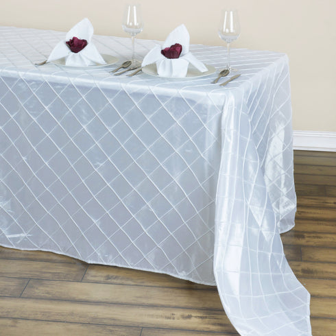 "90"" x 132"" White Taffeta Pintuck Tablecloths For Catering Wedding Party Decorations"