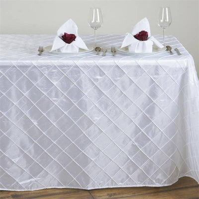 "White 90x132"" Pintuck Tablecloths"