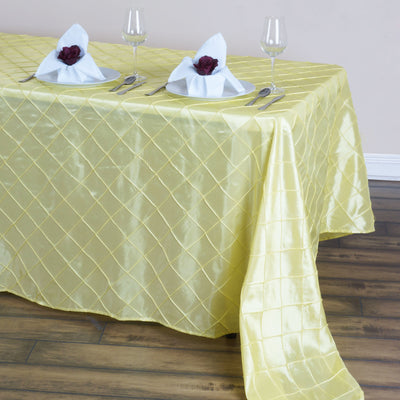 "90"" x 132"" Taffeta Pintuck Tablecloth - Yellow"