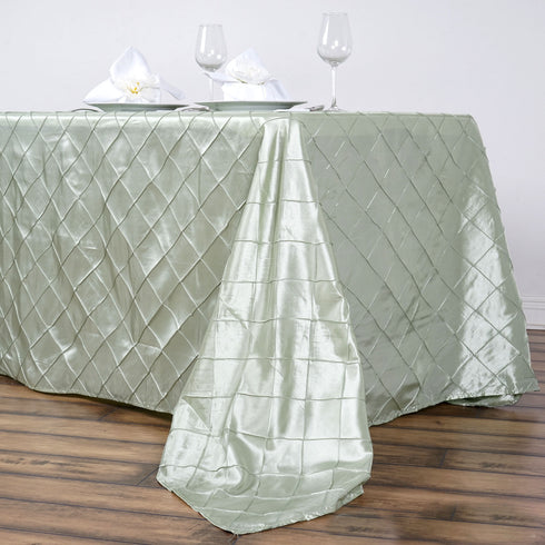 "90"" x 156"" Silver Sage Taffeta Pintuck Rectangular Tablecloth"