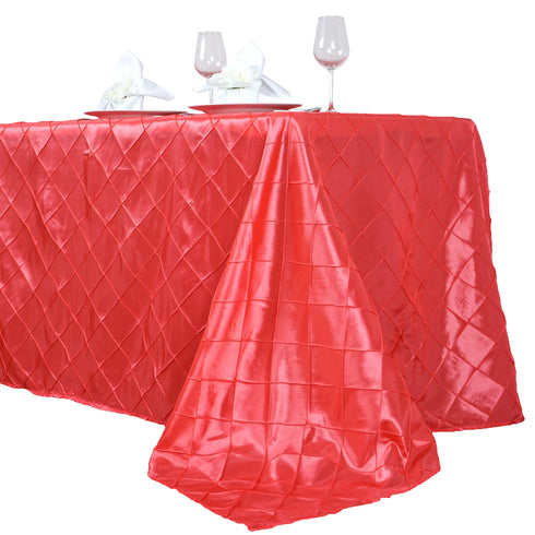 "90"" x 156"" Coral Taffeta Pintuck Rectangular Tablecloth"