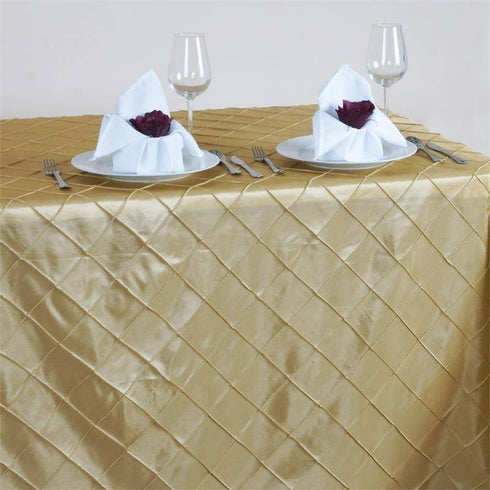"Champagne 90x156"" Pintuck Tablecloths"