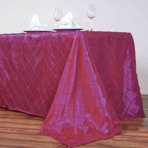 "90"" x 156"" Fushia Taffeta Pintuck Rectangular Tablecloth"