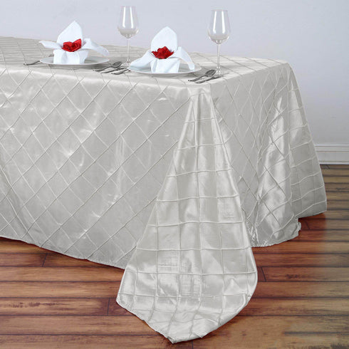 "90"" x 156"" Ivory Taffeta Pintuck Rectangular Tablecloth"