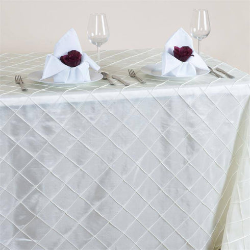 "Ivory 90x156"" Pintuck Tablecloths"