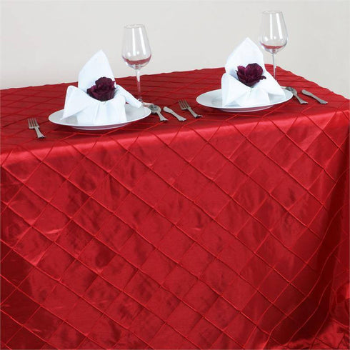 "Red 90x156"" Pintuck Tablecloths"