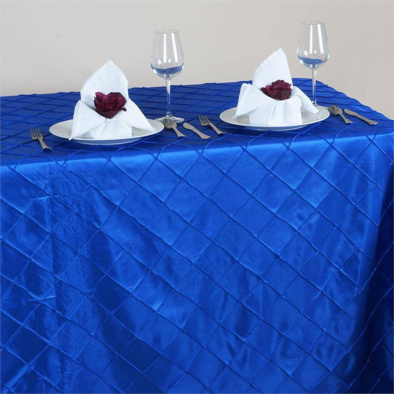 "Royal Blue 90x156"" Pintuck Tablecloths"