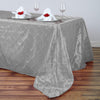 "90"" x 156"" Silver Taffeta Pintuck Rectangular Tablecloth"