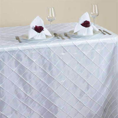 "White 90x156"" Pintuck Tablecloths"