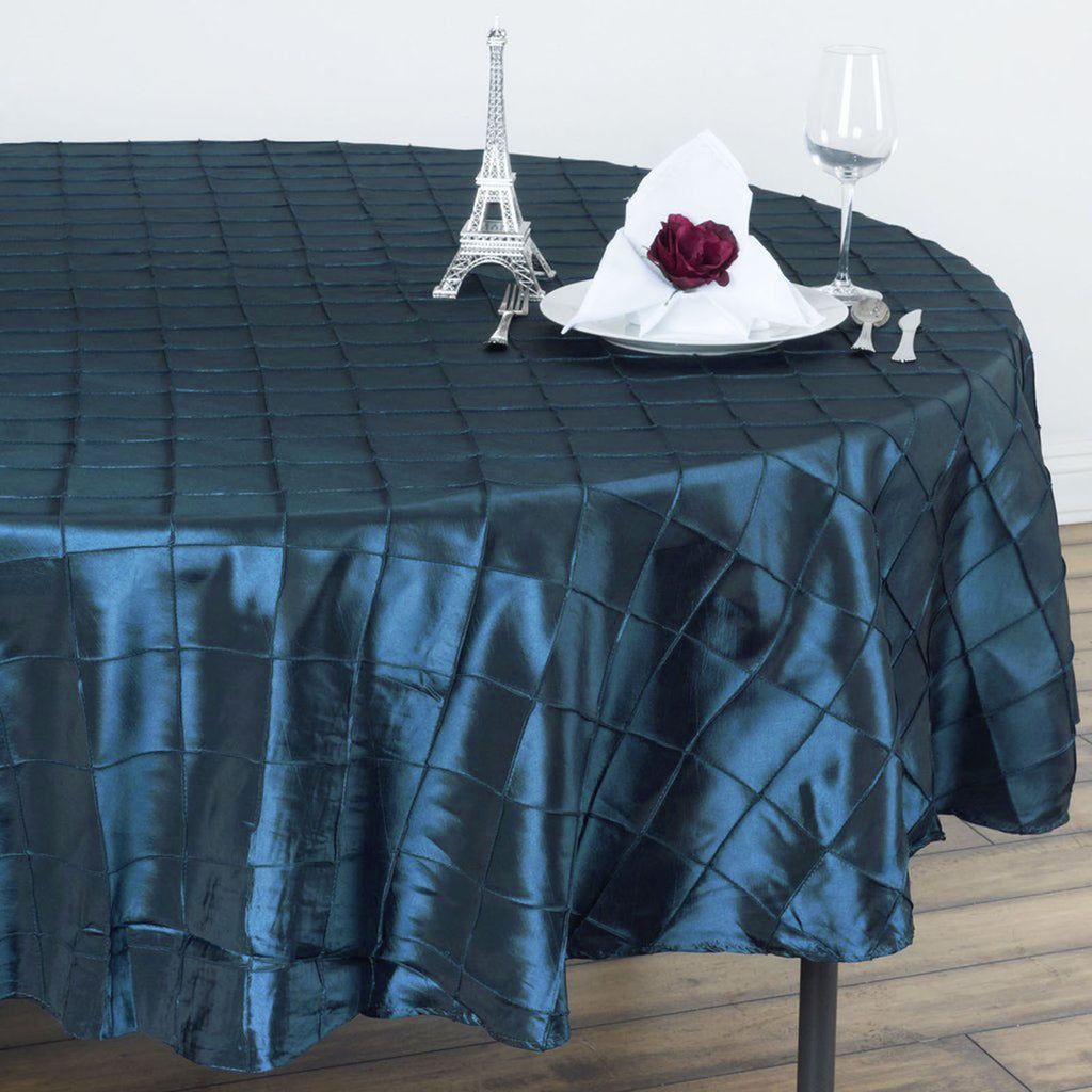 "Teal Pintuck Tablecloths 90"" Round"