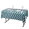 "54"" x 72"" Hunter Emerald Green 10 Mil Thick Chevron Waterproof Tablecloth PVC Rectangle Disposable Tablecloth"