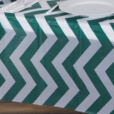 "54""x72"" Disposable Waterproof Chevron Plastic Vinyl Tablecloth - Hunter Green"