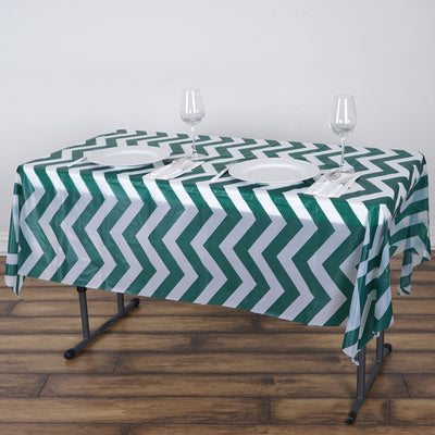"54"" x 72"" Hunter Green Disposable Chevron Plastic Vinyl Rectangular Tablecloth"
