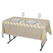 "54"" x 72"" Champagne 10 Mil Thick Chevron Waterproof Tablecloth PVC Rectangle Disposable Tablecloth"