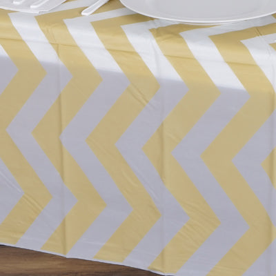 "54"" x 72"" Disposable Chevron Plastic Vinyl Tablecloth - Champagne"