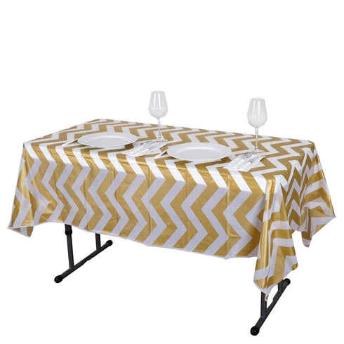 "54"" x 72"" Gold 10 Mil Thick Chevron Waterproof Tablecloth PVC Rectangle Disposable Tablecloth"
