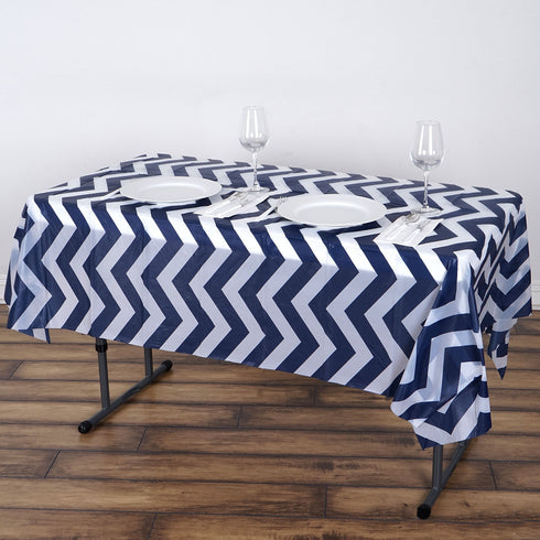 "54"" x 72"" Navy Blue 10 Mil Thick Chevron Waterproof Tablecloth PVC Rectangle Disposable Tablecloth"