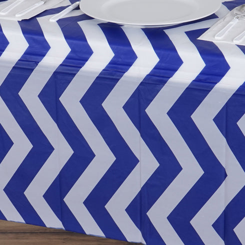 "54"" x 72"" Royal Blue 10 Mil Thick Chevron Waterproof Tablecloth PVC Rectangle Disposable Tablecloth"