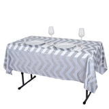 "54"" x 72"" Silver Disposable Chevron Plastic Vinyl Tablecloth"