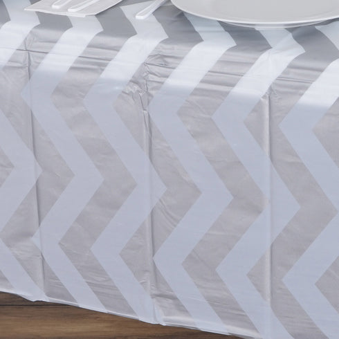 "54"" x 72"" Disposable Chevron Plastic Vinyl Tablecloth - Silver"