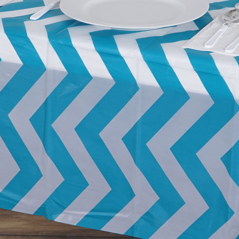 "54"" x 72"" Turquoise 10 Mil Thick Chevron Waterproof Tablecloth PVC Rectangle Disposable Tablecloth"