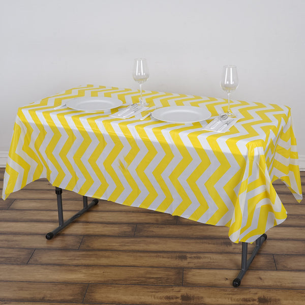 "54"" x 72"" Yellow 10 Mil Thick Chevron Waterproof Tablecloth PVC Rectangle Disposable Tablecloth"