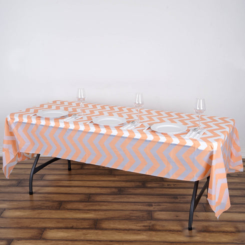 "54"" x 108"" 10 Mil Thick Chevron Waterproof Tablecloth PVC Rectangle Disposable Tablecloth - Blush/Rose Gold"