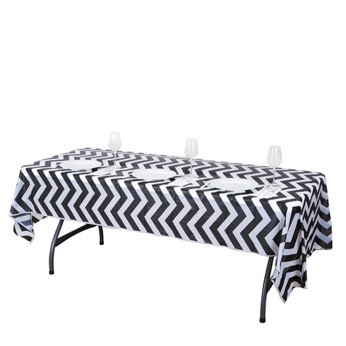 "54"" x 108"" Black 10 Mil Thick Chevron Waterproof Tablecloth PVC Rectangle Disposable Tablecloth"