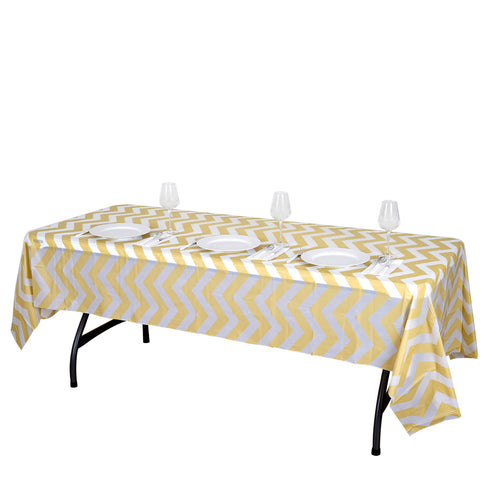 "54"" x 108"" Champagne 10 Mil Thick Chevron Waterproof Tablecloth PVC Rectangle Disposable Tablecloth"