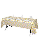 "54"" x 108"" Champagne Disposable Chevron Plastic Vinyl Rectangular Tablecloth"