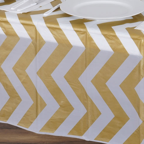 "54"" x 108"" Gold 10 Mil Thick Chevron Waterproof Tablecloth PVC Rectangle Disposable Tablecloth"