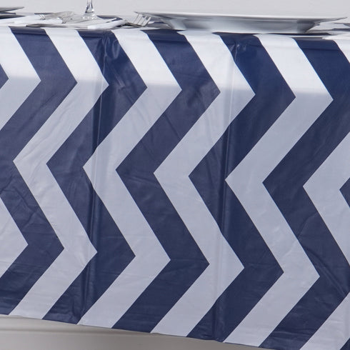 "54"" x 108"" Disposable Chevron Plastic Vinyl Picnic Birthday Party Catering Tablecloth - Navy Blue"