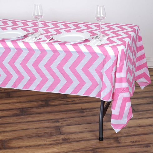 "54"" x 108"" Pink 10 Mil Thick Chevron Waterproof Tablecloth PVC Rectangle Disposable Tablecloth"
