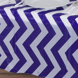 "54"" x 108"" Disposable Chevron Plastic Vinyl Tablecloth - Purple"