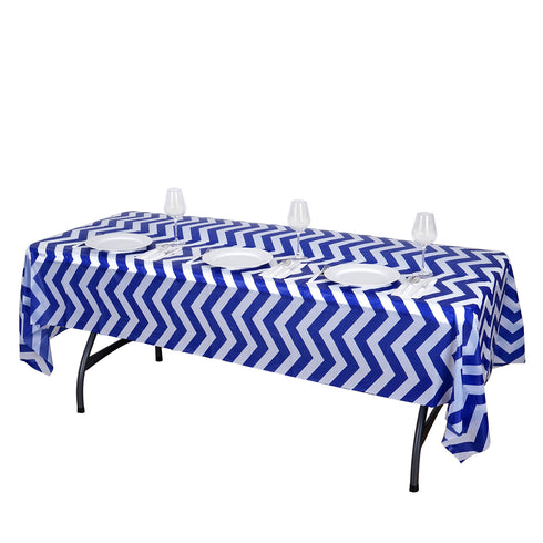 "54"" x 108"" Royal Blue 10 Mil Thick Chevron Waterproof Tablecloth PVC Rectangle Disposable Tablecloth"