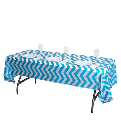 "54"" x 108"" Turquoise 10 Mil Thick Chevron Waterproof Tablecloth PVC Rectangle Disposable Tablecloth"