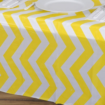 "54"" x 108"" Disposable Chevron Plastic Vinyl Tablecloth - Yellow"