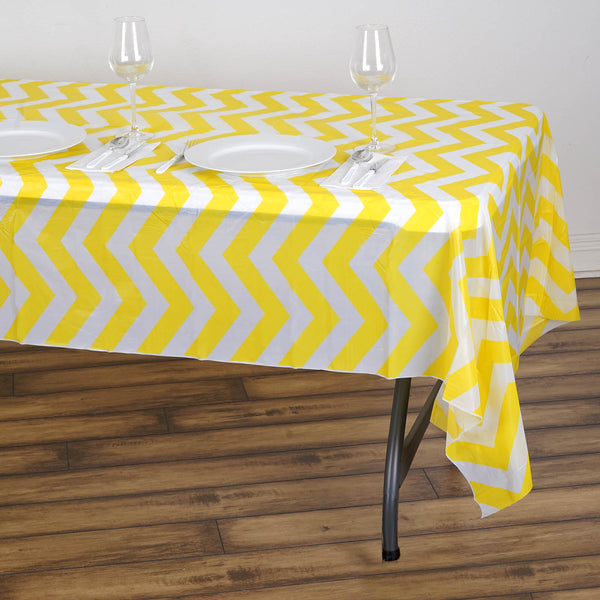 "54"" x 108"" Yellow 10 Mil Thick Chevron Waterproof Tablecloth PVC Rectangle Disposable Tablecloth"