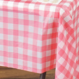 "Gorgeous Checkered 54x72"" Disposable Plastic Table Cover - White / Pink"