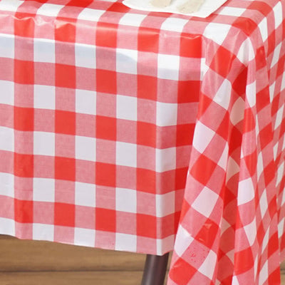"Gorgeous Checkered 54x72"" Disposable Plastic Table Cover - White / Red"