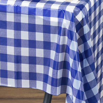 "Gorgeous Checkered 54x72"" Disposable Plastic Table Cover - White / Royal Blue"