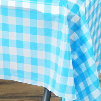 "Gorgeous Checkered 54x72"" Disposable Plastic Table Cover - White / Serenity Blue"