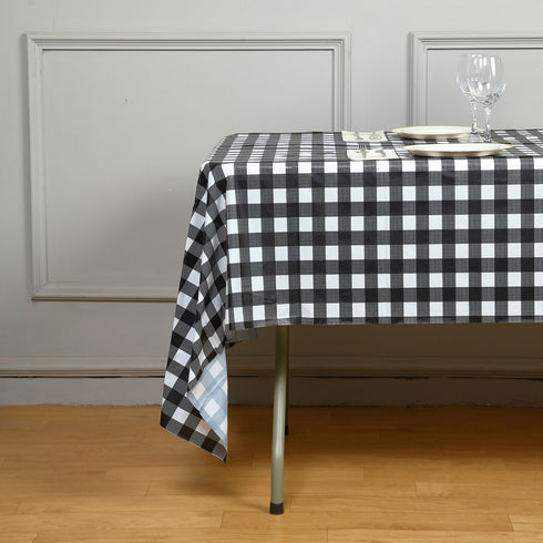 "Gorgeous Checkered 54x108"" Disposable Plastic Table Cover - White / Black"