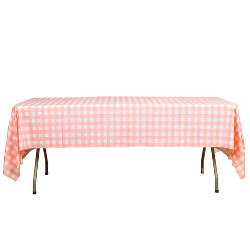 "Buffalo Plaid Tablecloth | 54"" x 108"" White/Pink Rectangular Spill Proof Tablecloths 
