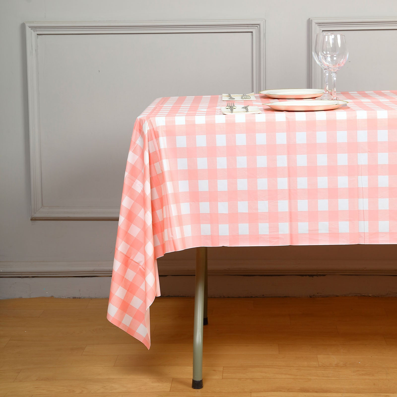 Disposable Checkered Plastic Vinyl Tablecloth - White/Pink - 54\