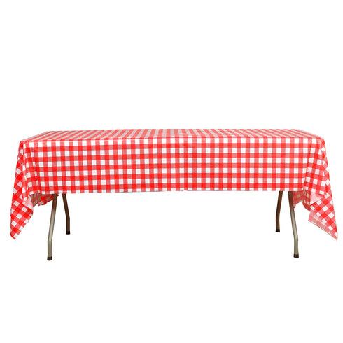 "Buffalo Plaid Tablecloth | 54"" x 108"" White/Red Rectangular Spill Proof Tablecloths 